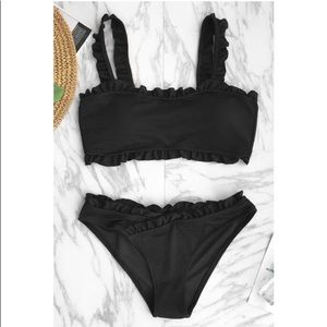 Unused Solid Black Only Love bikini set